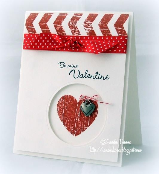 Be my valentine stamp handmade card with ribbon