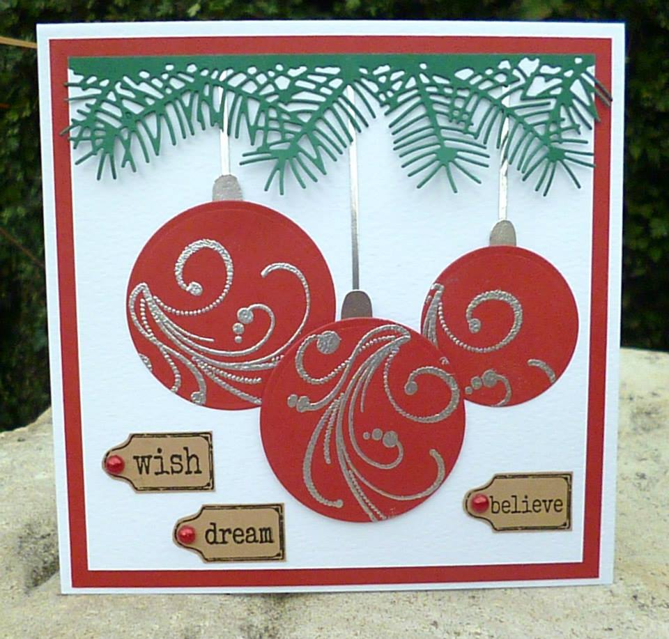 Amazing Christmas Cards Making Ideas Part - 11: Christmas Baubles Handmade Christmas Card Idea
