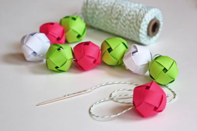 woven paper bauble garland
