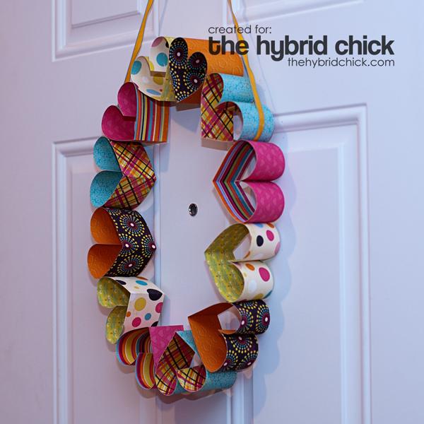 Hanging paper heart wreath