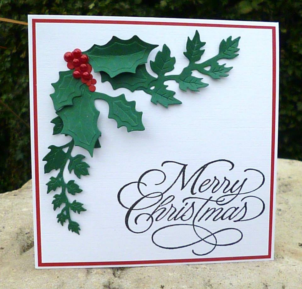 Handmade christmas cards tags and project ideas red white and green christmas card holly with berries m4hsunfo