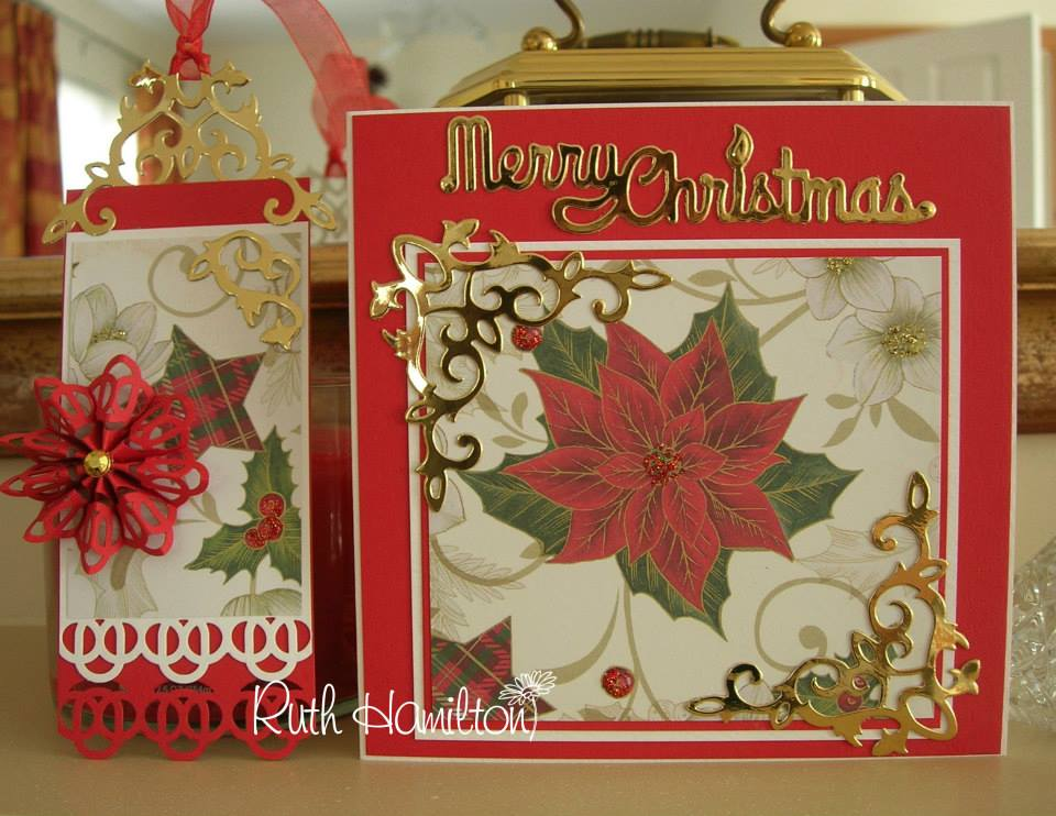 Handmade christmas cards tags and project ideas pretty traditional christmas card gold and red m4hsunfo