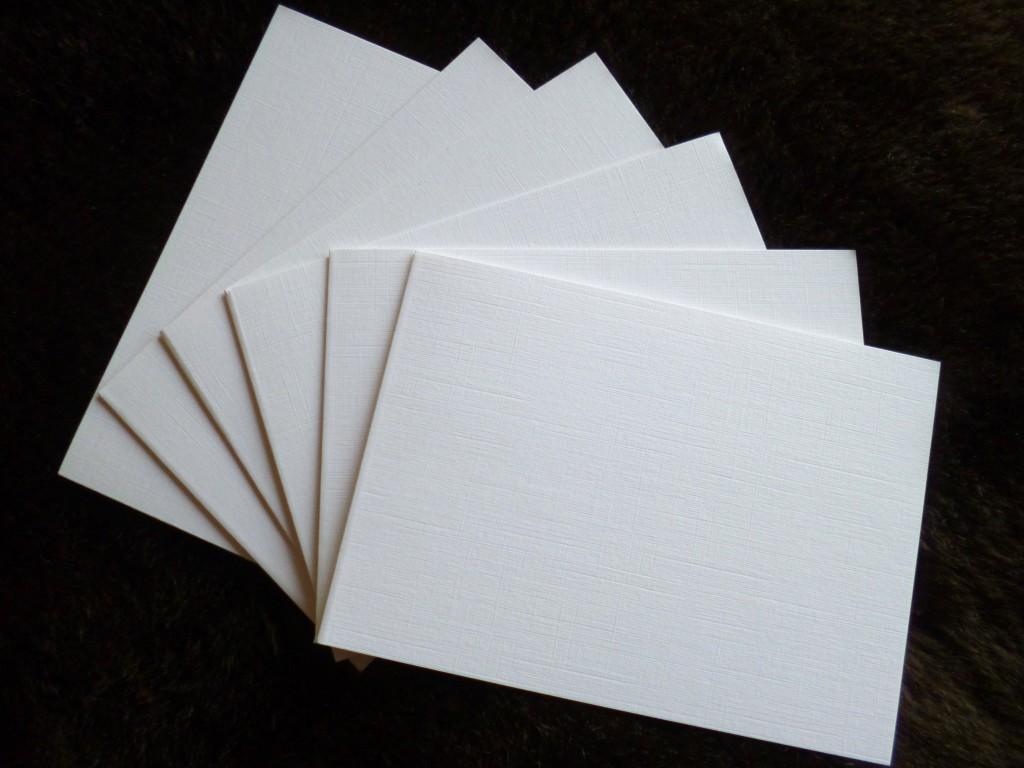card blanks white linen