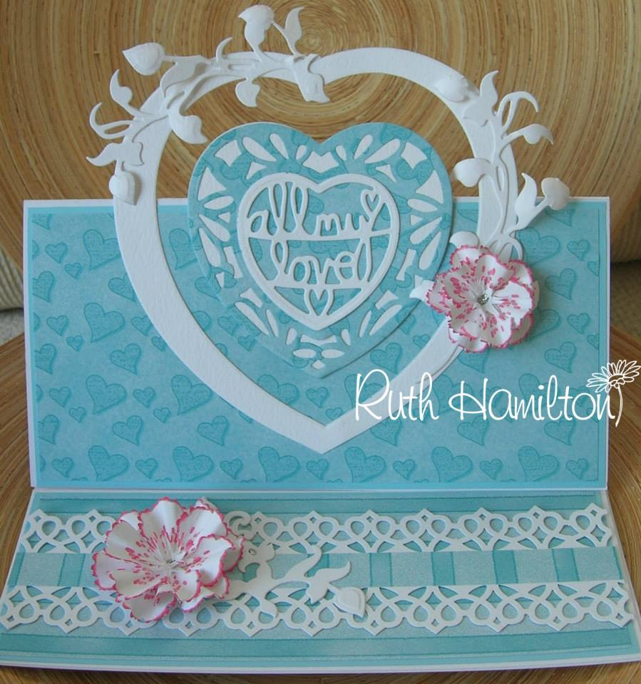 Pretty blue vakentines day card with heart
