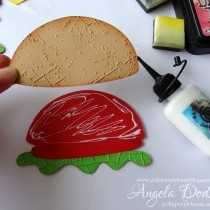 Happy Burger Day!! Fun Birthday card with embossing folders & inks