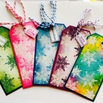 Colourful Christmas Tags with Snowflakes - Tutorial