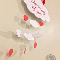 Romantic hanging cloud - Valentines day craft idea