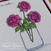 Just a Note Floral card - Stamping & Colouring on Hammered Card