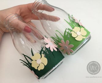 Decorating milk bottle vases - Easter Crafts