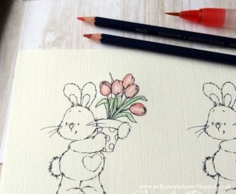 How to use watercolour pencils to colour a digi stamp