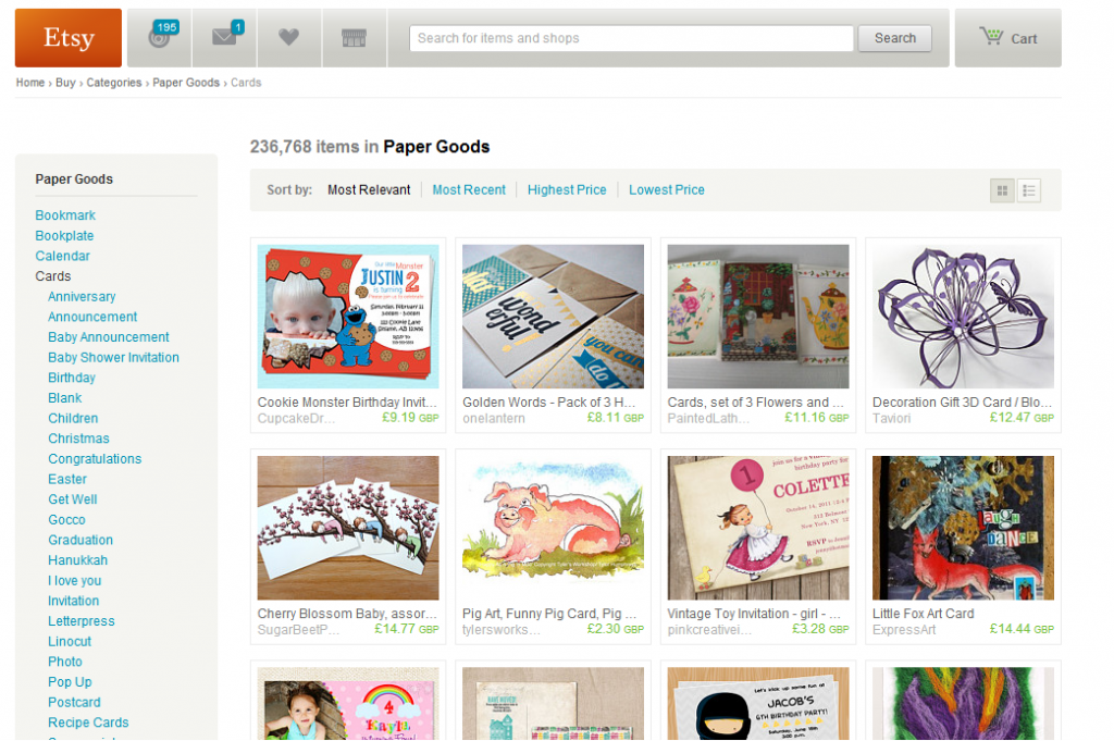 etsy for selling handmade cards