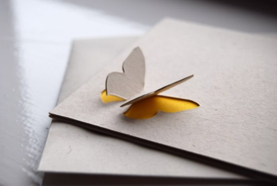 Handmade 3d card with butterfly