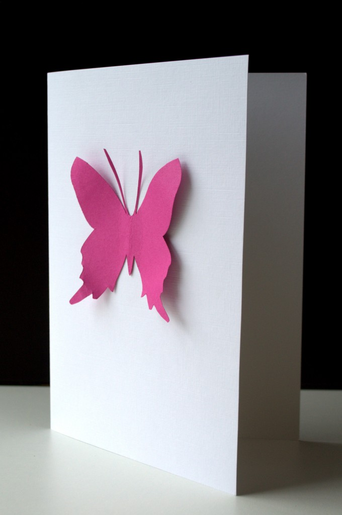 handmade card linen with butterfly