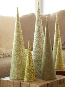 Conical christmas tree decorations