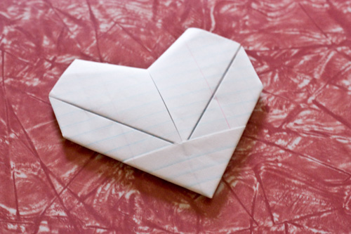 Simple folded paper heart
