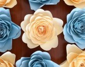 Pastel Blue and pastel ivory flowers