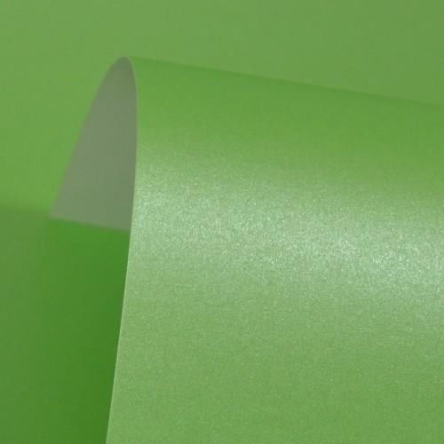 Spring Green Lustre Print Silver Card 300gsm